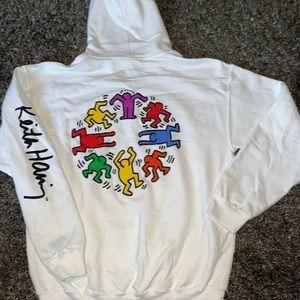 Keith Haring White Hoodie Rainbow Rare Classic